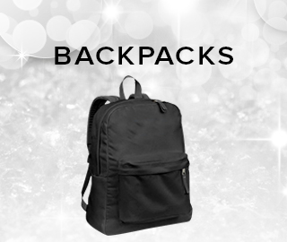 Holiday theme background with picture of backpack. Backpacks. Click to shop.