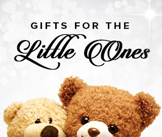 Holiday theme background with picture of two stuffed animals. Click to shop for gifts for the little ones.